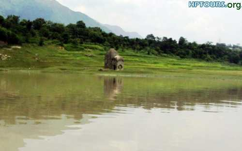Submerged Temple near Gobind Sagar Lake, Bilaspur